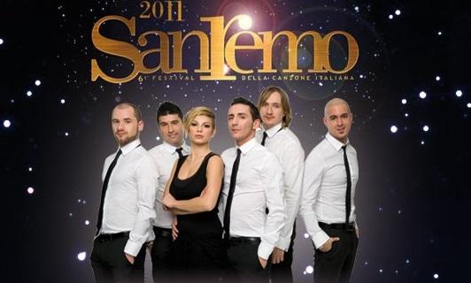 Foto Modà con Emma e logo Sanremo 2011