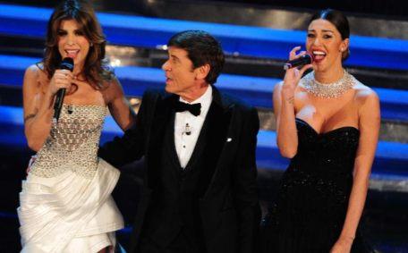 Elisabetta Canalis Gianni Morandi Belen Rodriguez Sanremo 2012