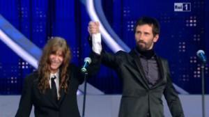 La poetessa Patti Smith e Cristiano Godano a Sanremo 2012