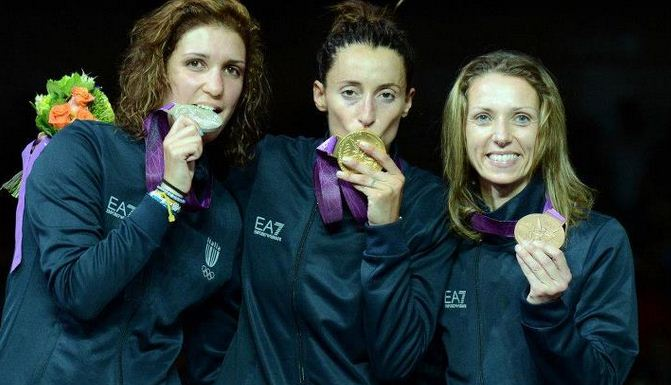 Foto di Errigo, Vezzali, Di Francisca fioretto femminile a squadre
