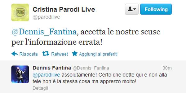 cristina parodi live dennis fantina gaffe twitter