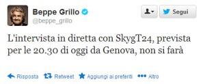 beppe grillo twitter cancella ritorno in tv