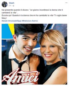 Foto del post Facebook di Stash con dedica a Maria De Filippi