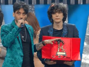 Foto dei vincitori del Festival di Sanremo 2018 (immagine Rai col momento della proclamazione)