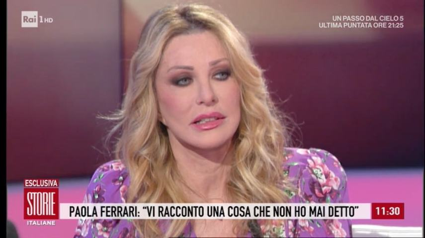 foto paola ferrari a storie italiane addolorata