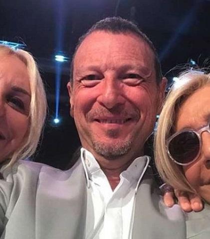 foto Antonella Clerici, Amadeus e Mara Venier a Sanremo