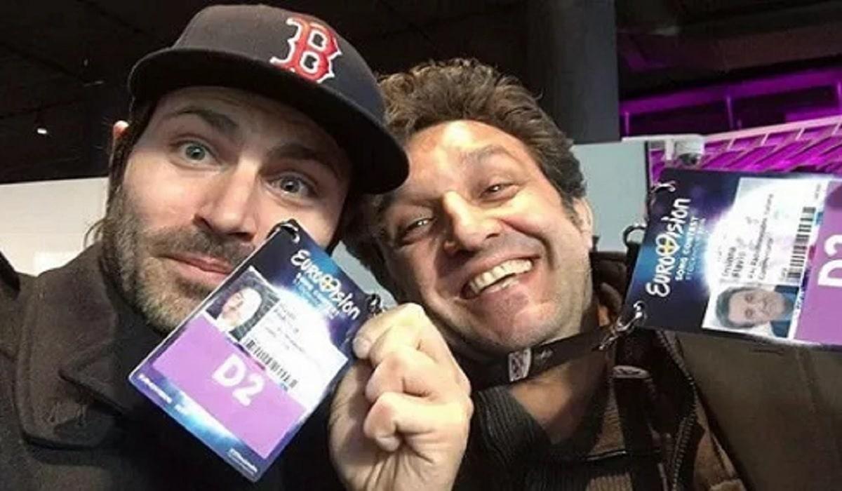 foto di Flavio Insinna con Federico Russo