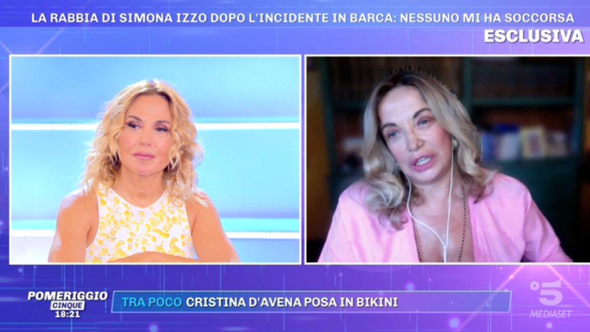 Foto Simona Izzo incidente Pomeriggio 5