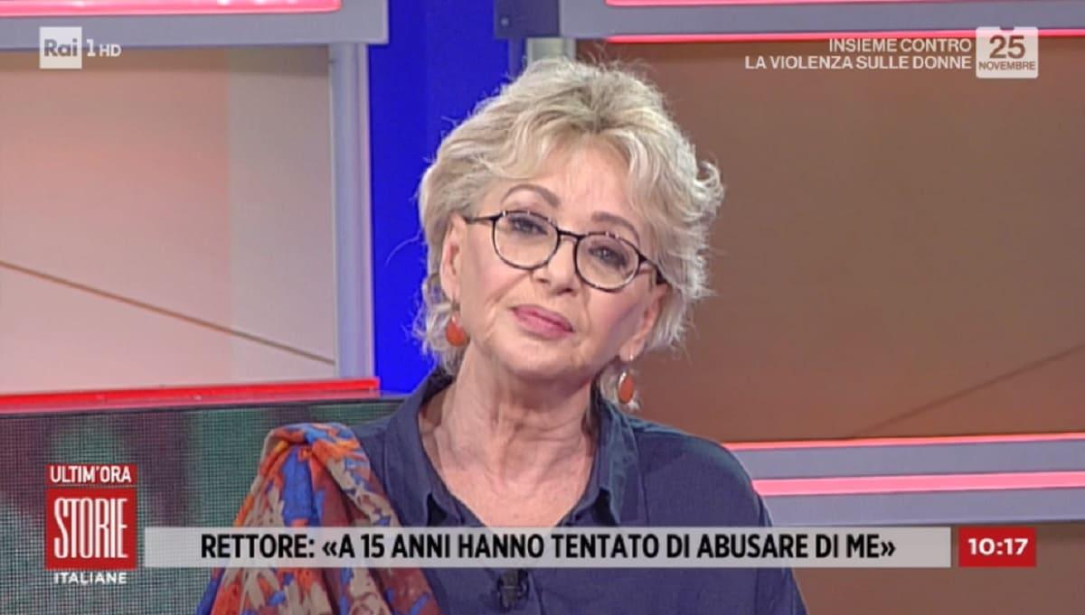 foto di Enrica Bonaccorti a Storie Italiane del 25 novembre