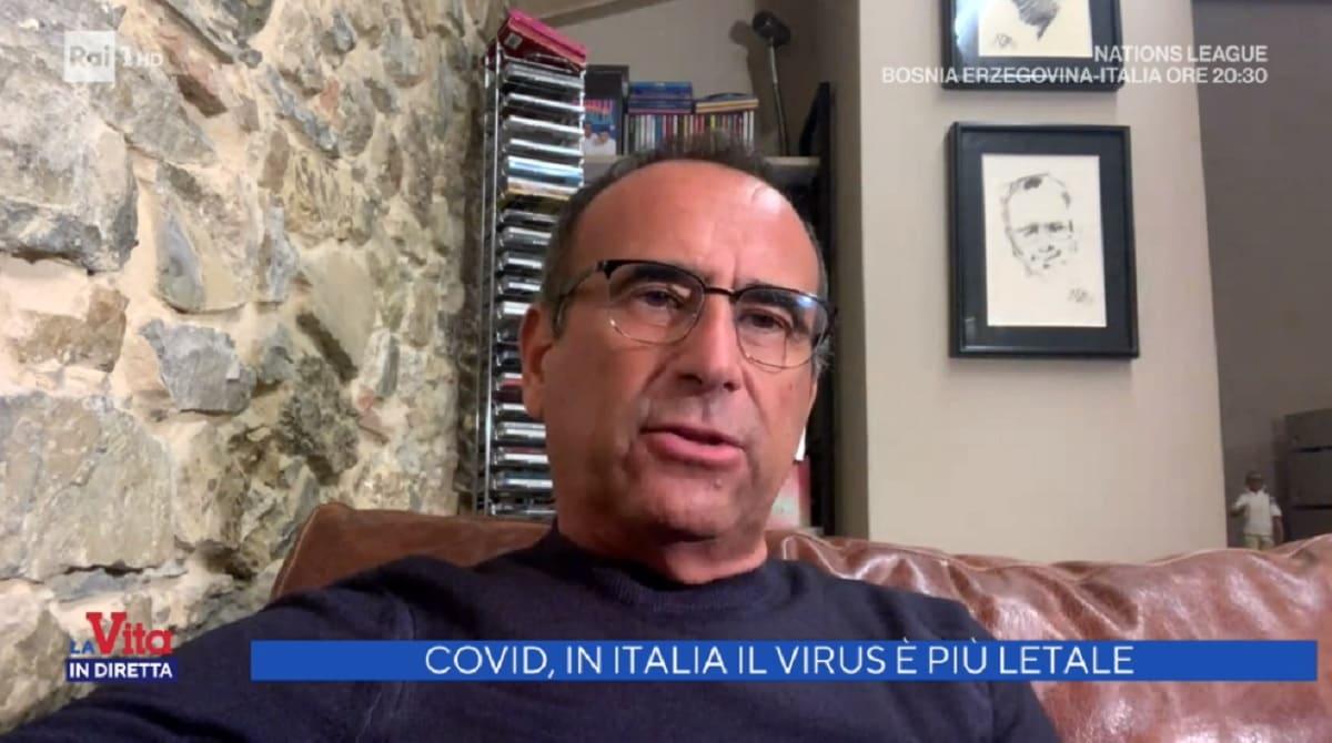 foto di Carlo Conti a La vita in diretta del 18 novembre
