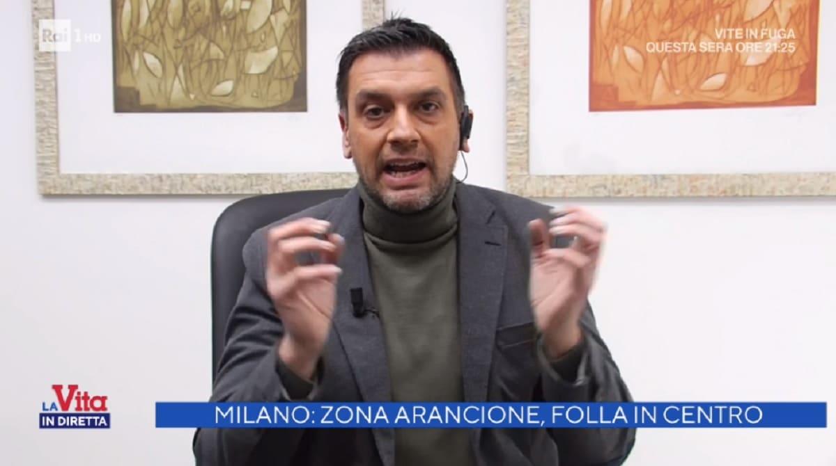 foto di Roberto Poletti arrabbiato a La vita in diretta
