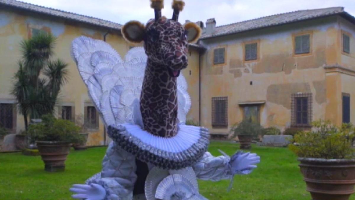 foto giraffa cantante mascherato