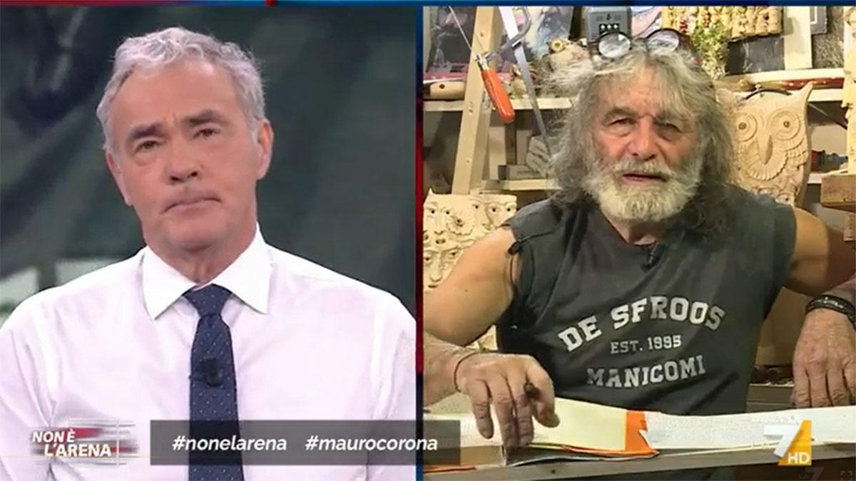 foto Mauro Corona e Massimo Giletti a Non è l'Arena